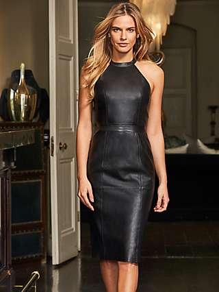 Sosandar Leather Halter Neck Dress, Black