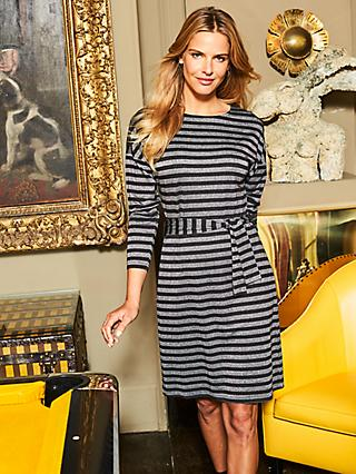 Sosandar Metallic Stripe Dress, Black/Silver