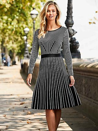 Sosandar Stripe Knitted Dress, Black/Multi