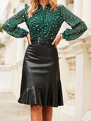 Sosandar Ruffle Leather Skirt, Black