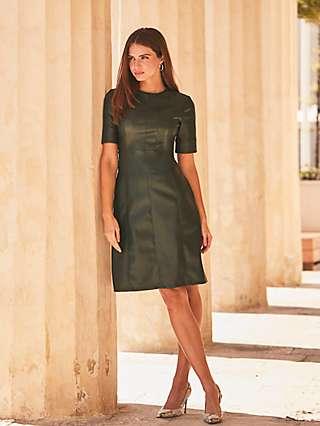 Sosandar Leather Look Panelled Shift Dress