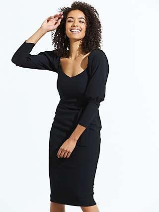 Sosandar Sweetheart Neckline Dress, Black