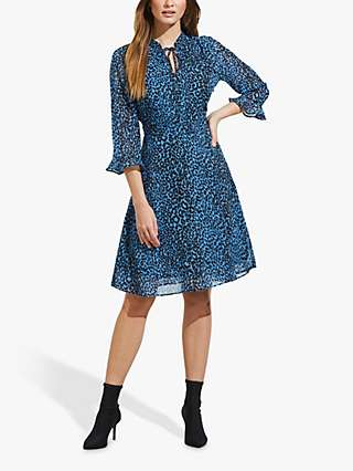 Sosandar Leopard Print Fit And Flare Dress, Blue