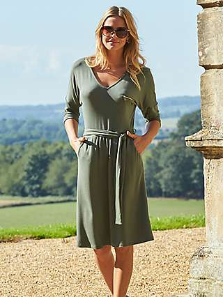 Sosandar Tie Waist Jersey Dress, Green