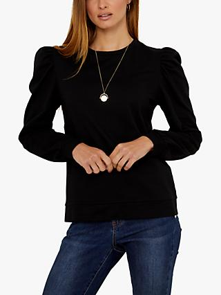 Sosandar Puff Shoulder Top, Black