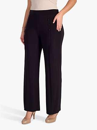 Chesca Button Trim Trousers, Black Tulip