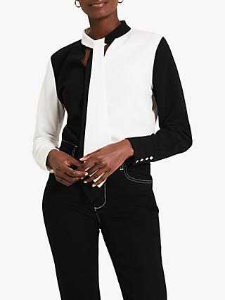Damsel in a Dress Jago Colour Block Blouse, Black/White