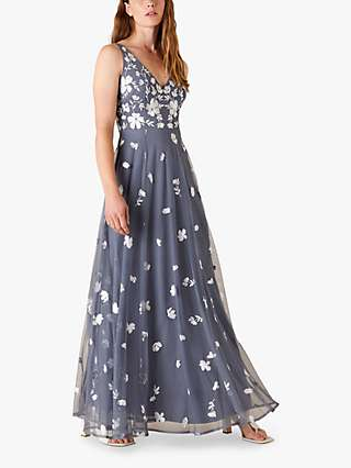 Monsoon Clemence Embroidered Maxi Dress, Grey/White