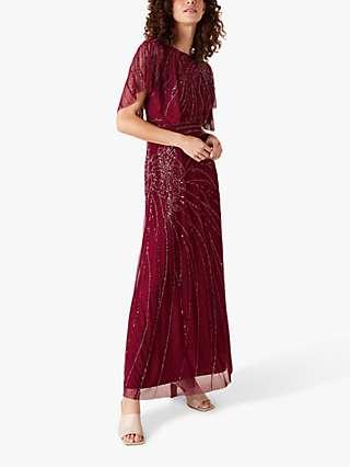Monsoon Florence Embellished Flutter Sleeve Maxi Dress, Red