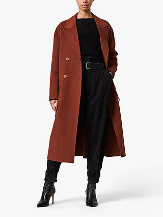Buy AllSaints Freya Wool Blend Coat, Cinnamon Brown, 10 Online at johnlewis.com