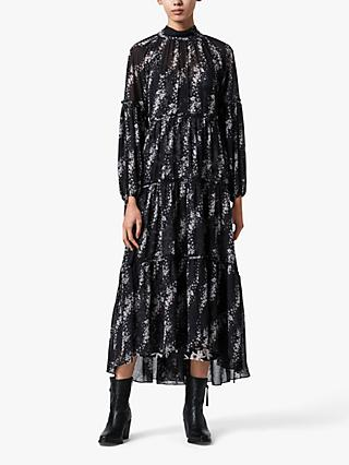 AllSaints Eimear Cultiver Tiered Dress, Black