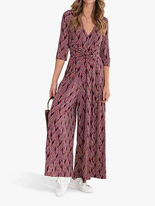 Jolie Moi Celia Abstract Print Twist Jumpsuit, Navy/Red