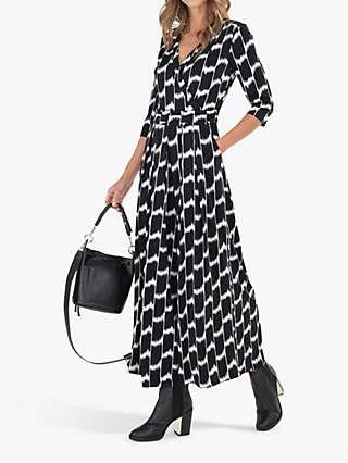 Jolie Moi Alina Geometric Print Wrap Jumpsuit, Black/White