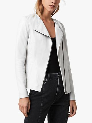 AllSaints Fawn Leather Biker Jacket, Off White