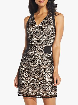 Adrianna Papell Sunrise Lace Mini Dress, Black/Bisque