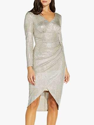 Adrianna Papell Metallic Knit Dip Hem Dress, Gold