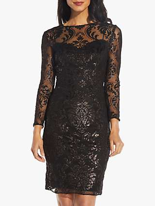 Adrianna Papell Metallic Burnout Dress, Black
