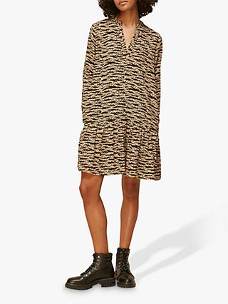 Whistles Tiger Leopard Print Dress, Black/Multi