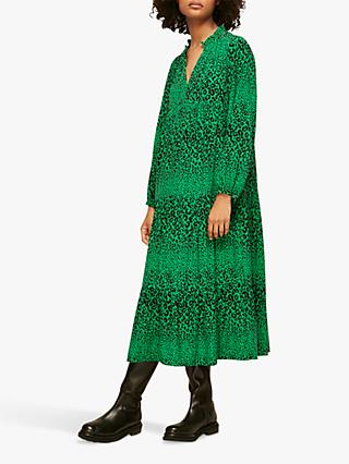 Whistles Enora Animal Print Midi Dress, Green/Multi