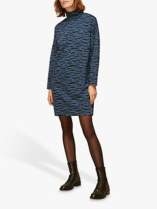 Whistles Tiger Print Funnel Neck Dress, Blue/Multi