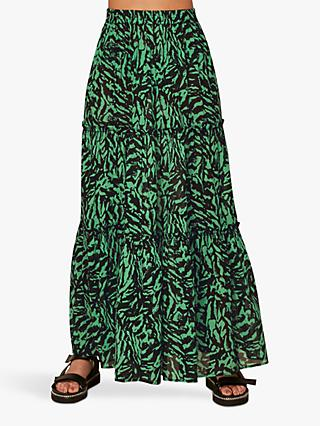 Whistles Animal Print Beach Skirt, Green/Multi
