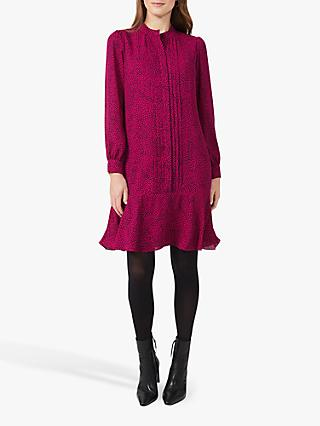 Hobbs Luella Ditsy Print Dress, Fuchsia/Black
