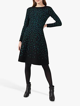 Hobbs Jodie Knitted Dress, Black/Green
