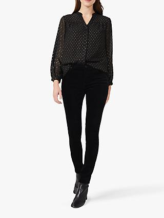 Hobbs Romina Spot Blouse, Black/Gold
