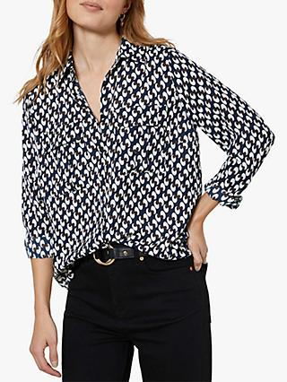 Mint Velvet Fia Geometric Print Shirt, Dark Blue