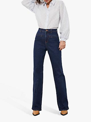 Mint Velvet Montana Wide Leg Jeans, Dark Blue