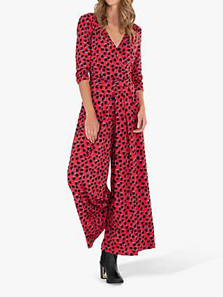 Jolie Moi Alina Spot Print Wrap Jumpsuit, Red/Multi