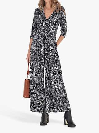Jolie Moi Celia Speckle Print Twist Jumpsuit, Black/White