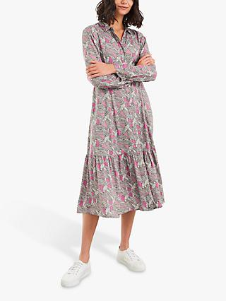 White Stuff Rua Bird Print Shirt Dress, Pink