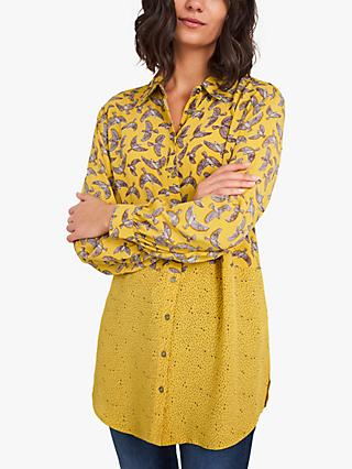 White Stuff Mixed Bird Print Tunic Top, Yellow/Multi