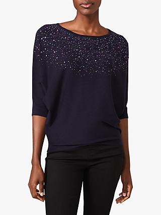 Phase Eight Cristine Embellished Batwing Knit Top, Navy