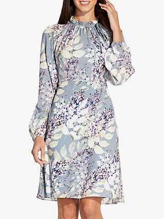 Adrianna Papell Watercolour Floral Knee Length Dress, Dusty Blue/Multi