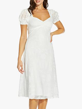 Adrianna Papell Chiffon Jacquard Embroidered Floral Knee Length Dress, Ivory