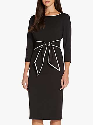Adrianna Papell Tipped Bow Knee Length Dress, Black
