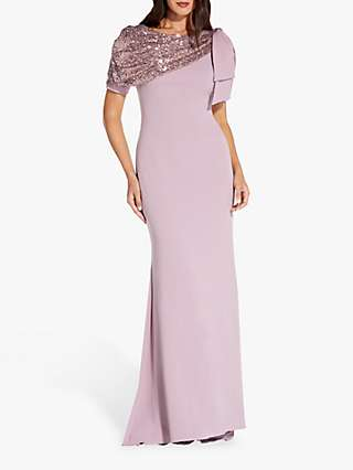 Adrianna Papell Sequin Crepe Maxi Gown, Vintage Gardenia