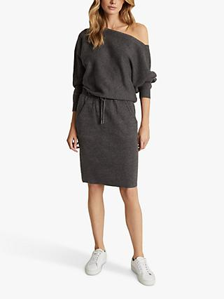 Reiss Amara Off Shoulder Jersey Mini Dress, Dark Grey