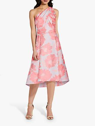 Adrianna Papell Tailored Asymmetric Floral Midi Dress, Coral