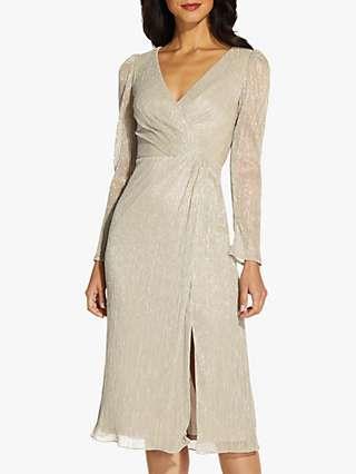 Adrianna Papell Metallic Wrap Knee Length Dress, Light Champagne