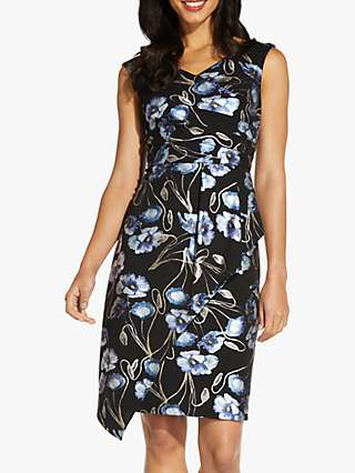 Adrianna Papell Metallic Crepe Floral Knee Length Dress, Black/Multi