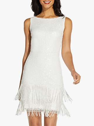 Adrianna Papell Beaded Flapper Mini Dress, Ivory