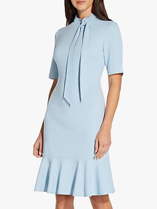 Adrianna Papell Knit Tie Neck Knee Length Dress, Blue Mist