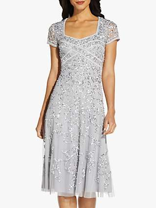 Adrianna Papell Beaded Sweetheart Knee Length Dress, Silver Mist