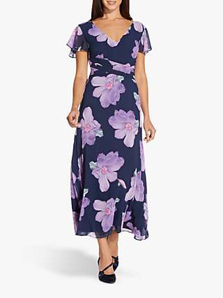Adrianna Papell Fit and Flare Floral Midi Dress, Navy/Multi