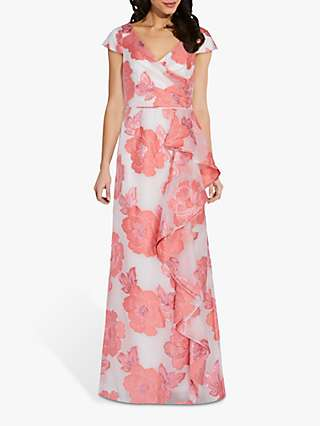 Adrianna Papell Organza Floral Maxi Gown, Coral/Ivory