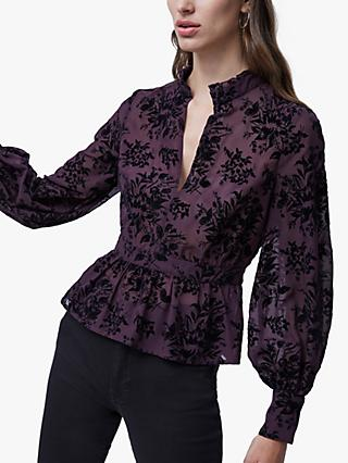 French Connection High Neck Floral Blouse, Rich Fig