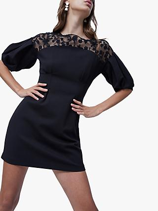 French Connection Sashi Puff Sleeve Mini Dress, Black